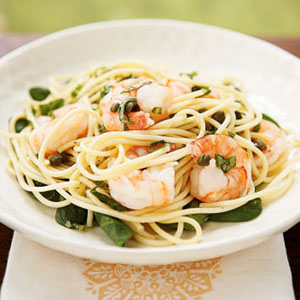Snappeas shrimp pasta